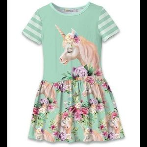 Other - 🦄 Turquoise Green Floral Unicorn Drop Waist Dress